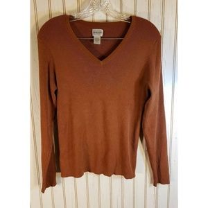 Chicos Size Large Brown Long Sleeve Sweater EUC